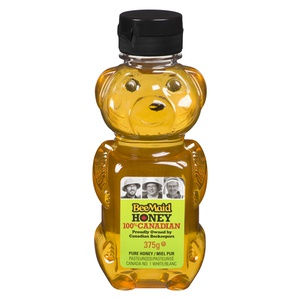 Beemaid 100% Canadian Pasteurized White Honey in Bear Bottle
