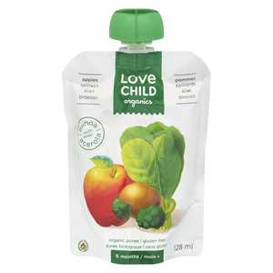 Love Child Organics Apples Spinach Kiwi Broccoli Puree